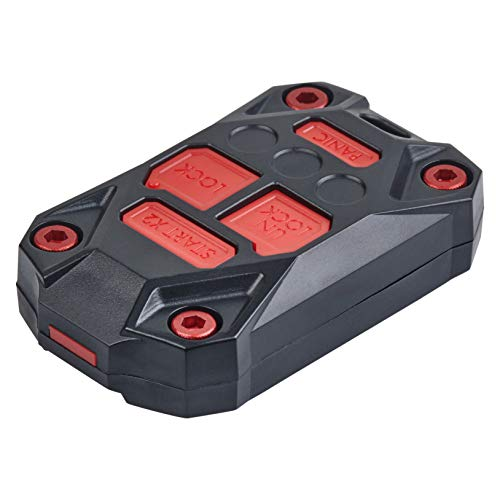 AJT DESIGN Injection Fob Case (Jeep Wrangler JK) Black/RED Screws+Buttons ()