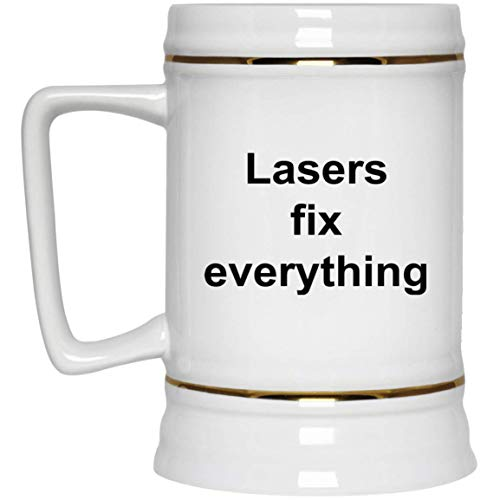 Lasers Beer Stein - 22 oz Gold Trim - Funny Novelty Gift Idea