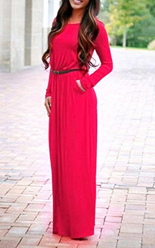 ecowish para mujer Cintura elástica Casual Manga larga plisado Maxi cooktail vestido de fiesta con cinturón Rojo