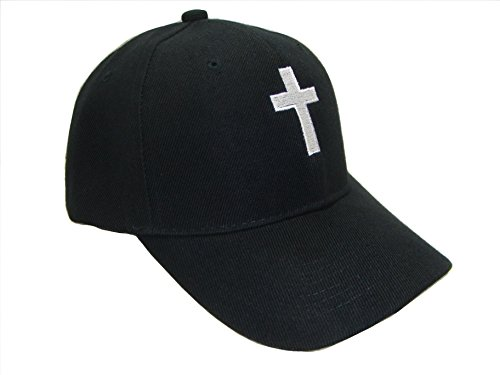 Cap Black Cross - THS Christian Cross Religious Theme Baseball Cap (One Size, Black/White)