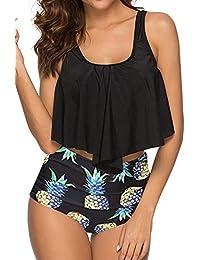 70fac82cdf Women High Waisted Swimsuit Flounce Swimwear Racerback Vintage Two Piece  Bikini