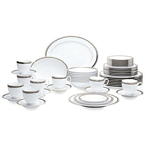Austin Platinum 50-Piece Crisp White Porcelain Accented with