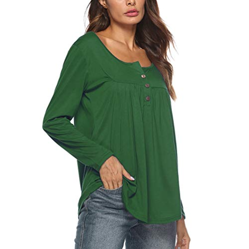Casual Longues Plis Bouton Tops Yiiquanan Tee Blouse Shirt Manches Solides Vert Femmes Tunique Row q8aaxnzX