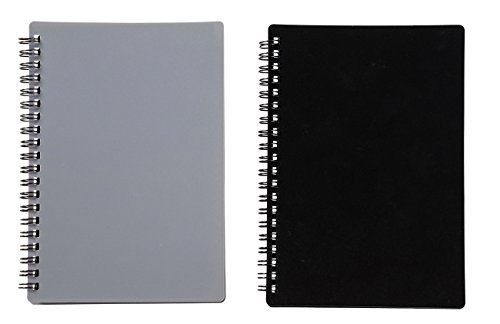 Durable Address Book - Password Journal - 2-Pack Internet Password Logbook for Home and Office use, Password Keeper, 80 Pages Each, Grey and Black, 5.8 x 7.3 x 0.4 inches