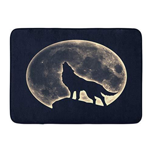 Emvency Doormats Bath Rugs Outdoor/Indoor Door Mat Native Howling Wolf Full Moon Wicca Werewolf Silhouette Magic American Bathroom Decor Rug Bath Mat 16