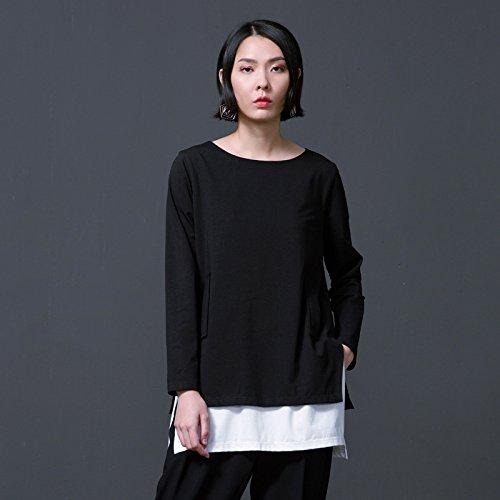 YLSZ-New women's dress, solid color T-shirt, long sleeve neck, loose black,black,S