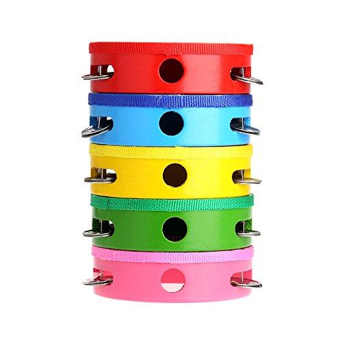 Bleiou Baby Kids Wooden Drum Rattles Toy Tambourine Gift 6inch Hand Held Tambourine Drum Bell(pattern send random)