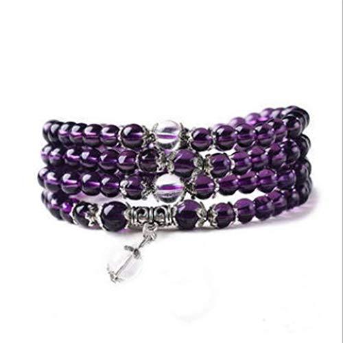 (Eleusine Natural Amethyst Agate Glass Bracelet Healing Stones Dolphin Opal Beads Necklace for Women Girls Men )