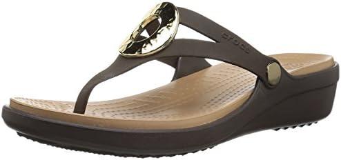 crocs Women's Sanrah Hammered Met Wedge
