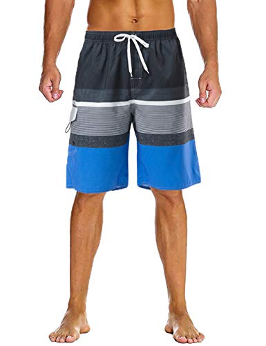 - Lncropo Mens Quick Dry Swim Trunks Striped Beach Board Shorts with Lining and 3 Pockets(B4-Navy,XS)