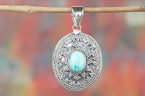 (Turquoise Pendant, 925 Sterling Silver, Oval Shape Pendant, Designer Silver Pendant, Blue color Pendant, Healing Pendant, Hippie Pendant, Birthstone Pendant, Festival Pendant, Boho Pendant, Gift Her)