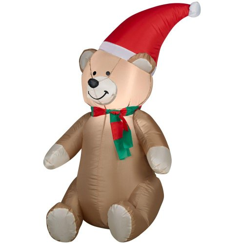 Gemmy Airblown Inflatable Teddy Bear Wearing Santa Hat and Red Green Striped Scarf – Indoor Outdoor Holiday Decoration, 3.5-foot Tall