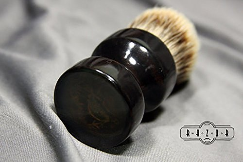 African Blackwood Shaving Brush with Etched Copper Pheasant Hunting Inlay by Wood Razor