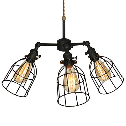 (Retro 3 Lights Metal Cage Light Chandelier Pendant Hanging Lighting Fixtures, 3 Sockets with Premium Black Metal Cages, Chandelier with Variable Appearance)