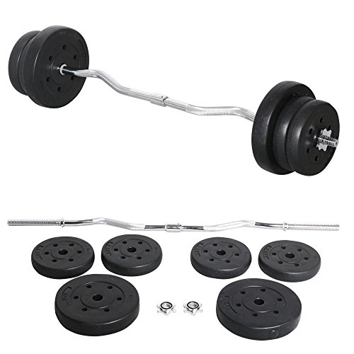 Yaheetech 55lb Olympic Barbell Dumbbell Weight Set Gym Lifting Exercise Workout Olympic Bar Curl Bar (Best Curl Bar Workouts)