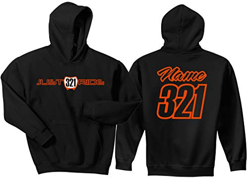 - JUST RIDE Youth Hoodie Sweat Shirt Motocross Number Plate Custom Personalized (YM (10/12), Orange)