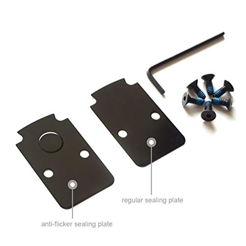 DPP Titanium Mounting Kit/Anti Flicker Sealing Plate Kit for Trijicon RMR Fit Glock MOS and Springfield OSP Models (Black) (Best Trijicon Rmr For Glock 19)