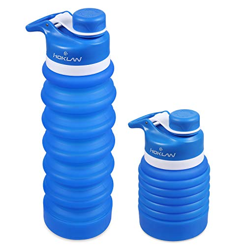 Hoklan Collapsible Water Bottle Bpa Free Fda Approved Foldable Water Bottle For Travel Food Grade Silicone Portable Leak Proof Lightweight Travel Water Bottle For Outdoor Gym Hiking Cycling 25oz