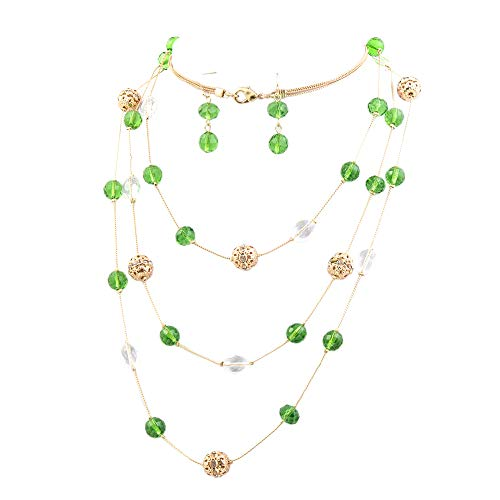 (Bocar New Beautiful Fashion 3 Layer Handmade Jewelry Set Long Illusion Necklace (Plated Gold-Green))