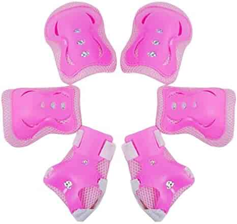 Kids 6pcs/Set Children Sports Protective Gear Set Knee Elbow Pads Wrist Guards for Cycling Skateboard Skating (Color : Pink)