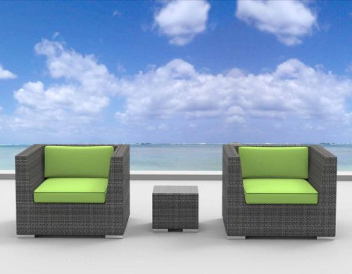 Urban Furnishing - St. Croix Ultra Modern Outdoor Backyard Wicker Patio Furniture Sofa Chair 3pc All-Weather Couch Set - lime green