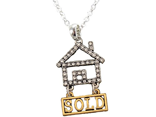 Necklace Realtor Crystal House Gold Sold Silver Chain Rhinestone Jewelry Home Real Estate