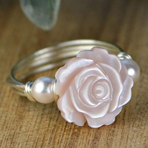 Pink Mother of Pearl Rose Flower and Any Two Crystal Birthstones Ring- Sterling Silver, Yellow or Rose Gold Filled Wire Wrapped Ring- Made to size 4-14 ()