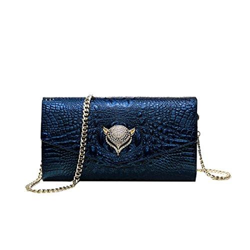 Yy.f Nuevo La Sra Embrague Del Sobre De Cuero Bolso De Embrague La Cadena De Diamantes Bolso De Hombro De Cuero Bolsos De Noche Bolsas Multicolores Blue