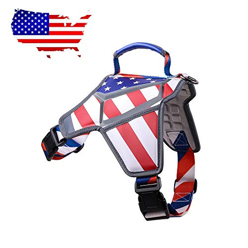 WEETALL Dog Harness, No-Pull & Adjustable Small Medium Dog Harness, American Flag Theme Dog Vest with Reflective Straps for Small Medium Breed