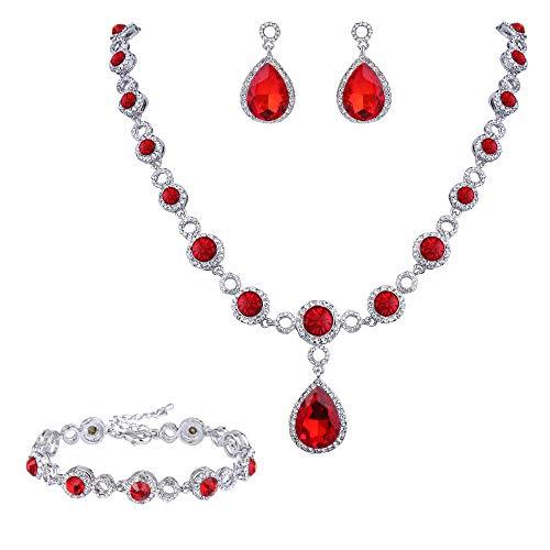 BriLove Wedding Bridal Necklace Bracelet Earrings Jewelry Set for Women Crystal Infinity Figure 8 Teardrop Y-Necklace Dangle Earrings Tennis Bracelet Set Ruby Color Silver-Tone July -