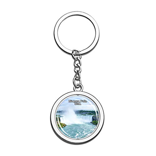 Keychain Niagara Falls United States USA US Keychain Crystal Spinning Round Stainless Steel Keychains Souvenir Key Chain Ring
