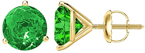- 2 Carat Total Weight Emerald Solitaire Stud Earrings Pair 18K Yellow Gold Popular Premium Collection 3 Prong Screw Back