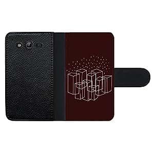 Funda carcasa de cuero para Samsung Galaxy Grand NEO Plus diseño rectángulos fondo granate