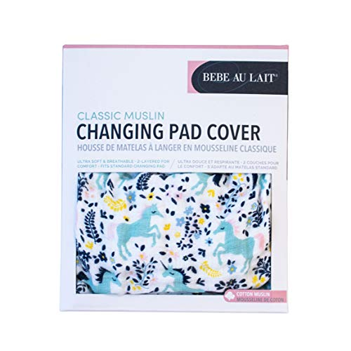 Bebe au Lait Classic Muslin Changing Pad Cover, 100% Cotton Muslin, One Size Fits Most - Unicorn