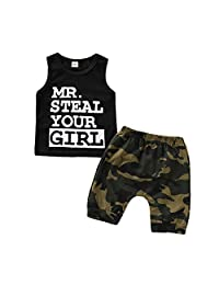 Infant Boy Mr Steal Your Girls Shirt Shorts Outfits Set Tank Tops Camo Shorts Dinosaur Short Set Boys