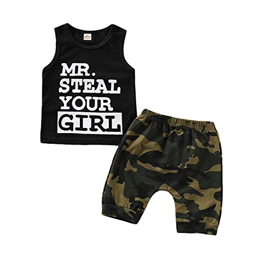 AR-LLOYD Baby Boys Sleeveless Shorts Sets Infant Boy Mr Steal Your Girl Vest + Camouflage Shorts Outfit Set (B Black, 6-12months)