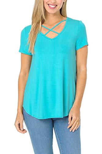 - Auliné Collection Womens Casual Criss Cross V-Neck Short Sleeve T-Shirt Tee Top - Turquoise Small