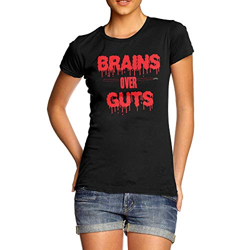 TWISTED ENVY Funny Tee Shirts for Women Brains Over Guts Medium Black -
