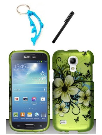 (3 Items Combo For Samsung Galaxy S4 Mini i9190 / i9192 / i9195 Green Hawaiian Flower 2D Design Rubberized Hard Case Snap On Protector Cover + Free Stylus Pen + Free Alloy Beer Bottle Opener Dolphin Keychain)