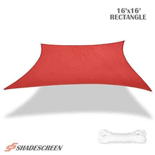 Shade Screen 16' x 16' Sun Shade Sail for Patio Backyard Deck UV Block Fabric - Square Red
