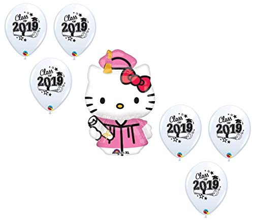 DalvayDelights Hello Kitty 2019 Pink and White Graduation Grad Hat Cap Gown Party Mylar & Latex Balloons Set