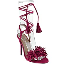 Forever Link Rubina 57 Womens Fringe Open Toe High Heel Sandals