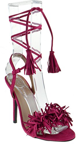 Forever Link Rubina 57 Womens Fringe Open Toe High Heel Sandals (7.5 B(M) US, Fuchsia)