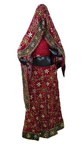 Indian New Bridal Lehenga Set Heavy Hand Beaded Georgette Fabric Wedding Maroon Dress (Beaded Georgette Skirt Set)