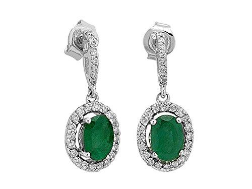 Birgie Diamants et Bijoux -Boucles d'Oreilles Emeraudes Ovale et Diamants-Femme- or Blanc 203E0004
