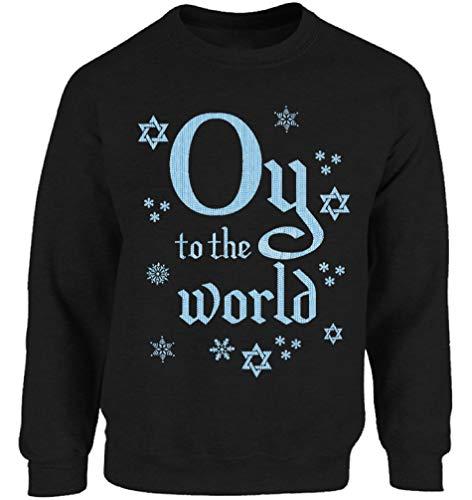 (Vizor Jewish Sweatshirt Oy to The World Hanukkah Sweater Ugly Holiday Sweater Black XL)