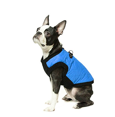 Gooby Fashion Quilted Bomber Dog Vest with Stretchable Chest, Blue, (D-ring Dog Raincoat)