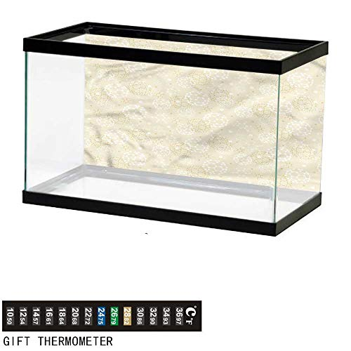 bybyhome Fish Tank Backdrop Ivory,Science Molecule Motif,Aquarium Background,24
