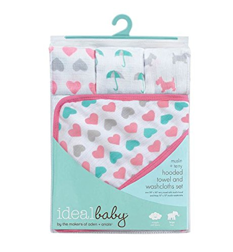 ideal baby by the makers of aden + anais Hooded Towel and Washcloth Set (Pink)