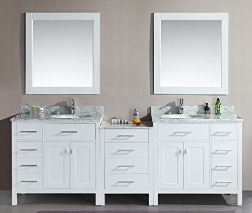 Design Element DEC076D-W-92 London 92-Inch Double Sink Vanity Set, White Finish (Bath Vanity 92)